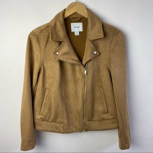 Old Navy Tan faux suede moto jacket